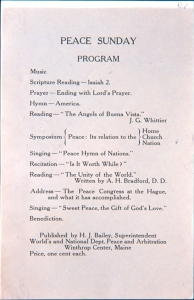7. Sunday program literature from the WCTU's Department of Peace and Arbitration, late 1890s. Papers of Hannah J. Bailey. Courtesy, Swarthmore College Peace Collection.