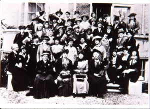 14. U.S. delegation to the International Congress of Women at The Hague, 1915. Jane Addams is in the front row, second from the left. Records of the Women's International League for Peace and Freedom. Courtesy, Swarthmore College Peace Collection.