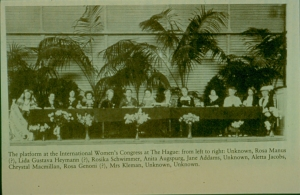 17. Platform Party at the International Congress of Women at The Hague, 1915. Photo from original Report of the International Congress of Women at The Hague, 1915.