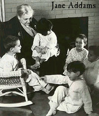 Jane Addams with children in Hull House.